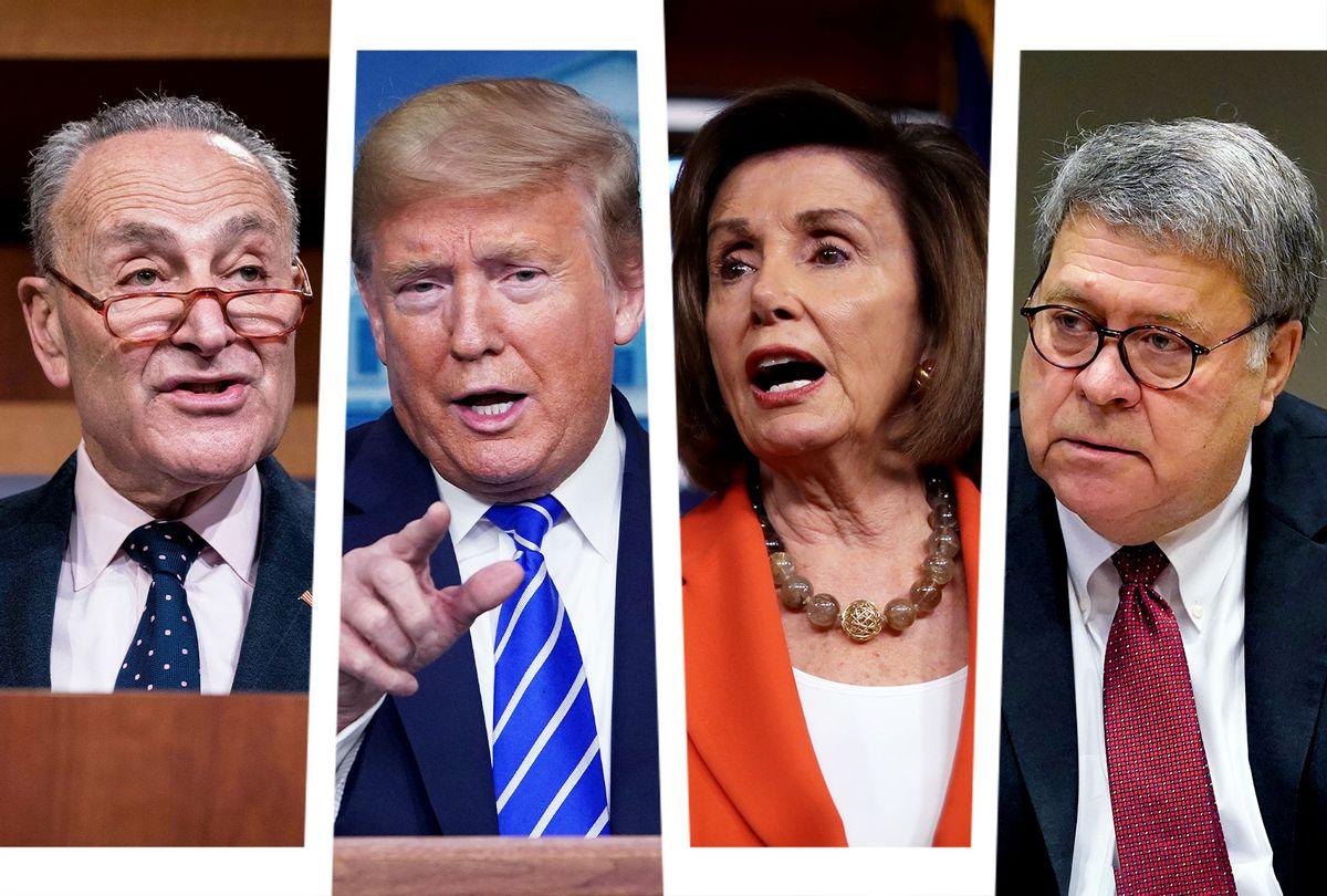 Chuck Schumer, Donald Trump, Nancy Pelosi and Bill Barr (Photo illustration by Salon/Getty Images)