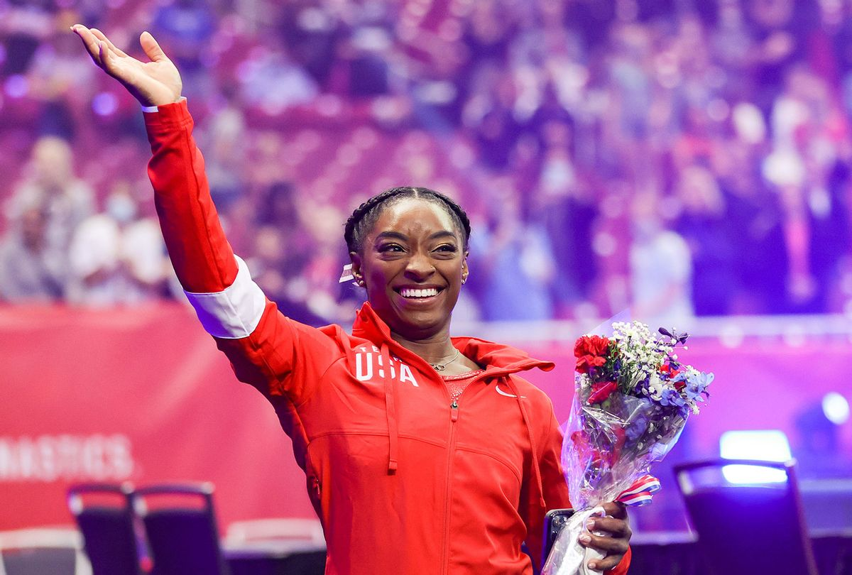 Simone Biles waves to the crowd as she exits following the Women's competition of the 2021 U.S. Gymnastics Olympic Trials at America's Center on June 27, 2021 in St Louis, Missouri. (Carmen Mandato/Getty Images)