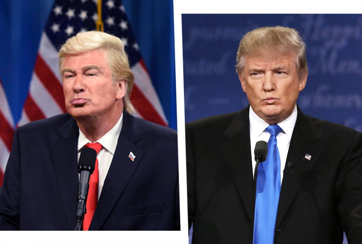 Alec Baldwin as President Elect Donald J. Trump on SNL, and Donald Trump during the Presidential Debate (Photo illustration by Salon/Getty Images/Will Heath/NBC))
