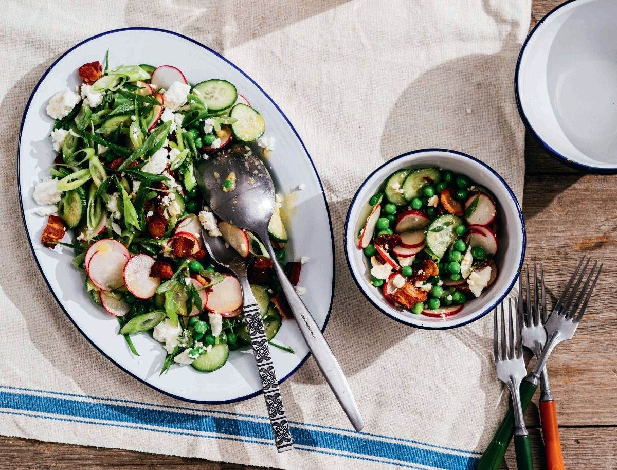 Spring Pea Salad (Food Styling by Catrine Kelty   Prop Styling by Caroline Woodward) (Photo by Michael Piazza for Yankee Magazine)