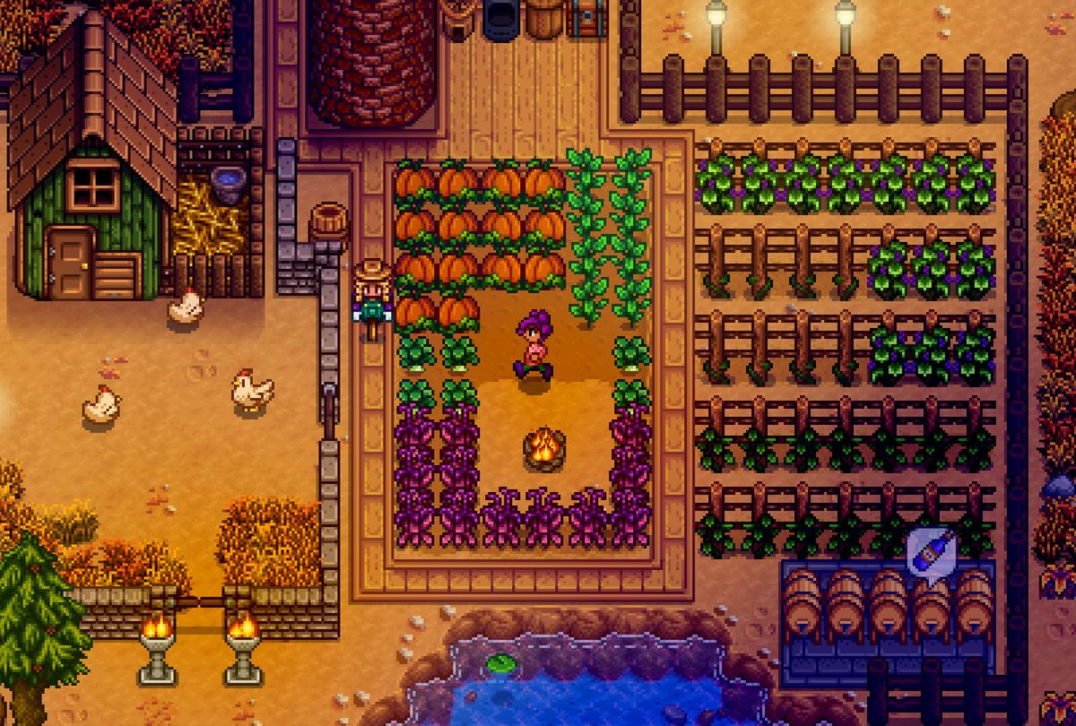 Stardew Valley farm in the the evening (ConcernedApe)