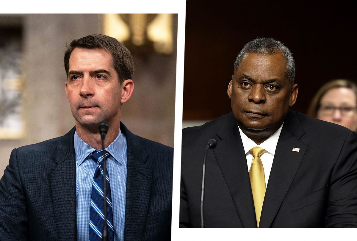 Tom Cotton and Lloyd Austin (Photo illustration by Salon/Getty Images)