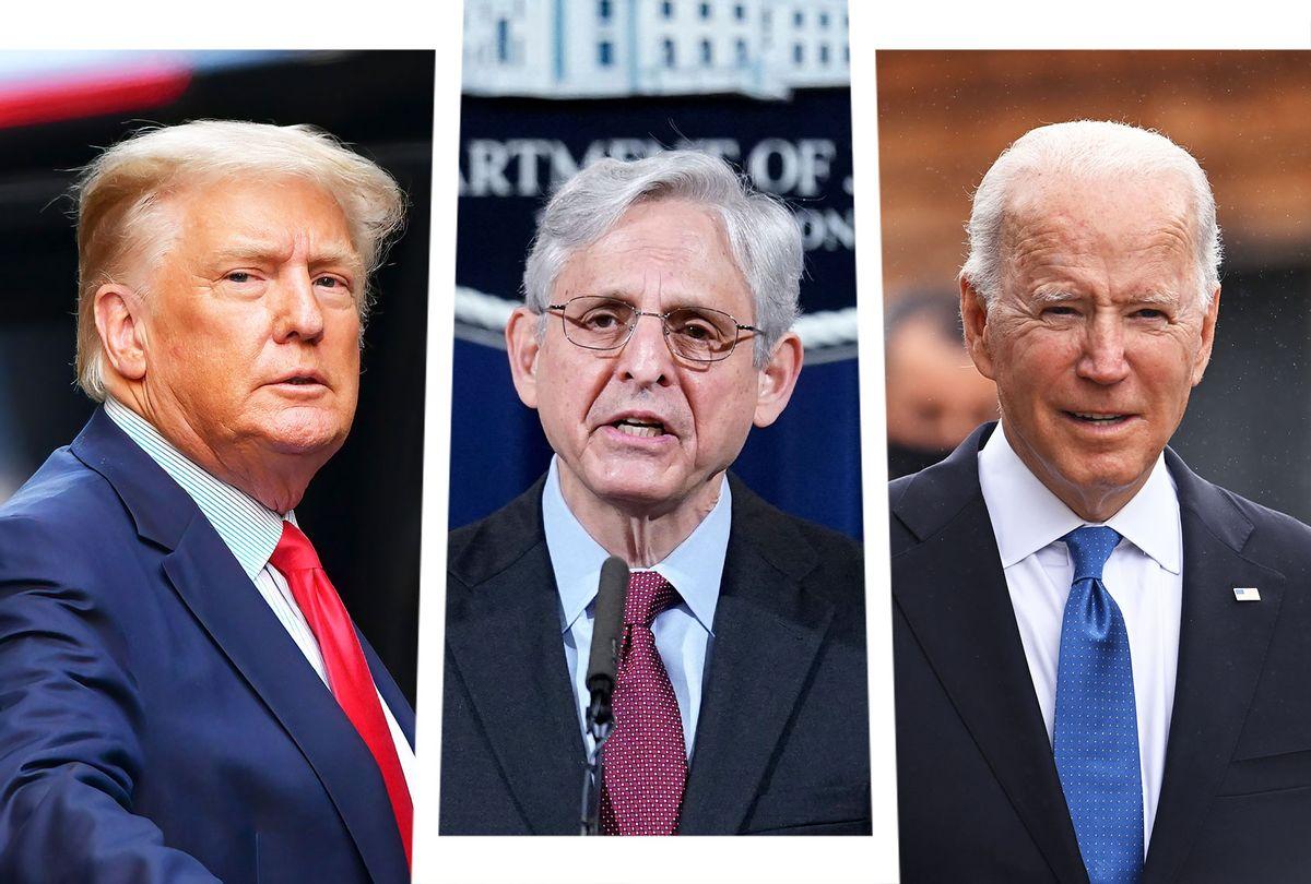 Donald Trump, Merrick Garland and Joe Biden  (Photo illustration by Salon/Getty Images)