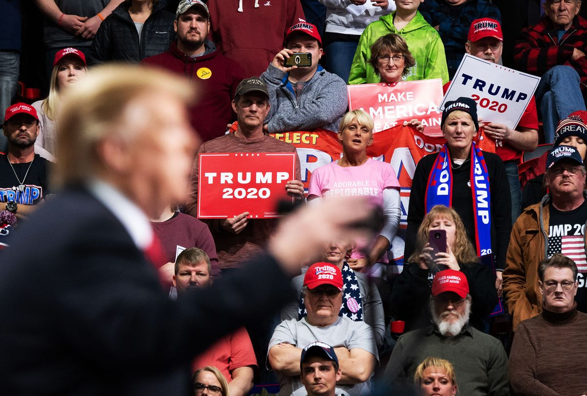Supporters listen as US President Donald Trump speaks during a Make America Great Again rally in Green Bay, Wisconsin, April 27, 2019. (SAUL LOEB/AFP via Getty Images)