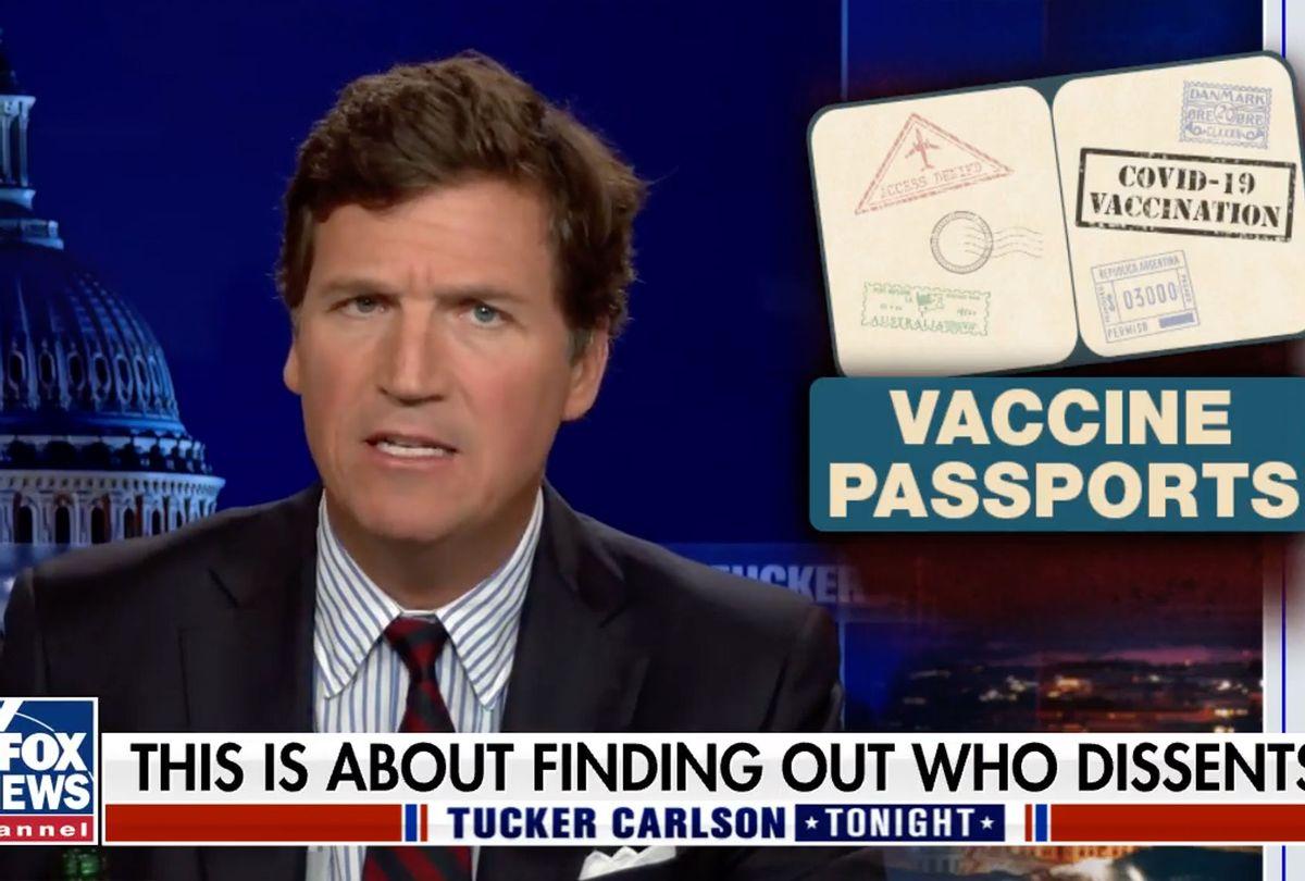 Tucker Carlson complains about vaccine passports (FOX News)