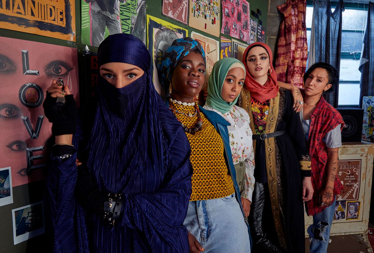 "Lucie Shorthouse as Momtaz, Faith Omole as Bisma, Anjana Vasan as Amina, Juliette Motamed as Ayesha, Sarah Kameela Impey as Saira in ""We Are Lady Parts"" (Laura Radford/Peacock)"