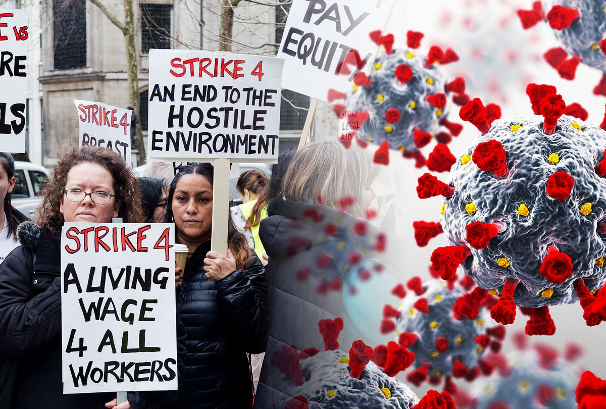 Global Women's Strike together with women's rights organisations stage a protest | Coronavirus COVID-19 Spores (Photo illustration by Salon/Getty ImagesWiktor Szymanowicz/ BlackJack3D)