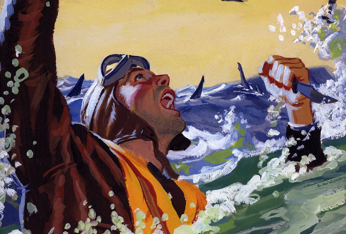 """A painting for the US Army """"Stars and Stripes"""" newspaper shows a downed US Army Air Force pilot fighting off sharks with a knife in 1944 somewhere in the Pacific Ocean (Illustration by Ed Vebell/Getty Images)"""