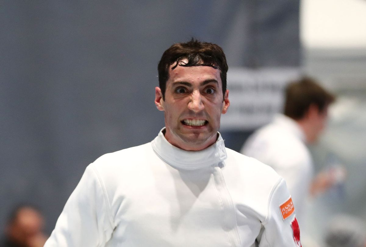 Fencer Alen Hadzic of the U.S. looks on at the Peter Bakonyi Men's Epee World Cup at the Richmond Olympic Oval in 2020. (Devin Manky/Getty Images)