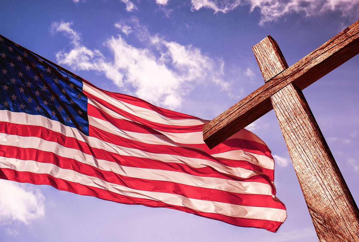 American Flag and Christianity Cross (Getty Images/Javier Art Photography)