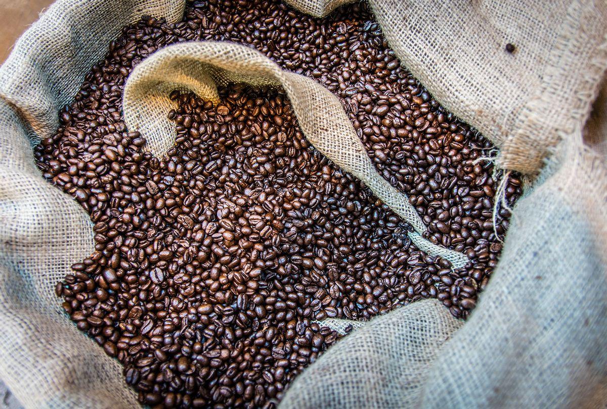 Roasted Coffee Beans In Sack (Getty Images/Dawid Garwol)