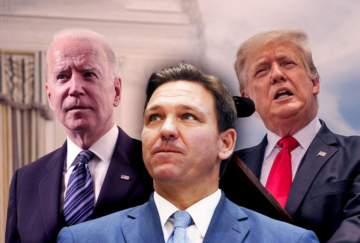 Joe Biden, Donald Trump and Ron DeSantis (Photo illustration by Salon/Getty Images)