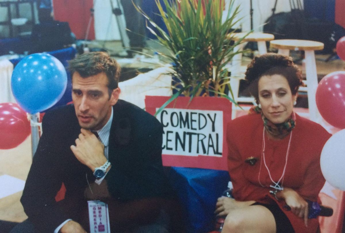 Brian Unger and Lizz Winstead at Clinton Dole debates (Lizz Winstead)