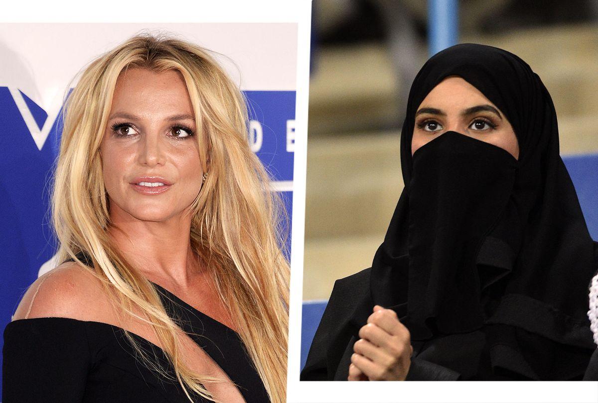 Britney Spears   A veiled woman in Saudi Arabia (Photo illustration by Salon/Anthony Harvey/Fayez Nureldine/Getty Images)