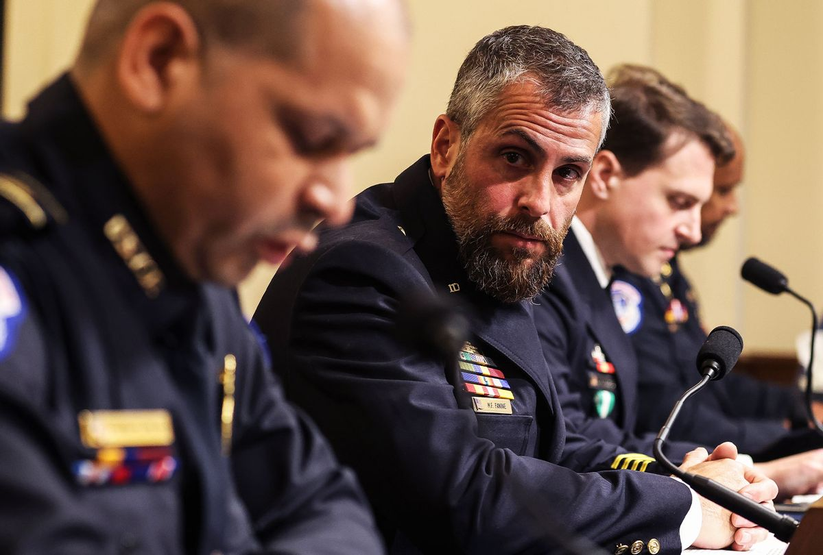 U.S. Capitol Police, Michael Fanone, right, looks on as U.S. Capitol Police officer Sgt. Aquilino Gonell, left, testifies before the House Select Committee investigating the January 6 attack on the U.S. Capitol on July 27, 2021 at the Cannon House Office Building in Washington, DC. (Oliver Contreras-Pool/Getty Images)