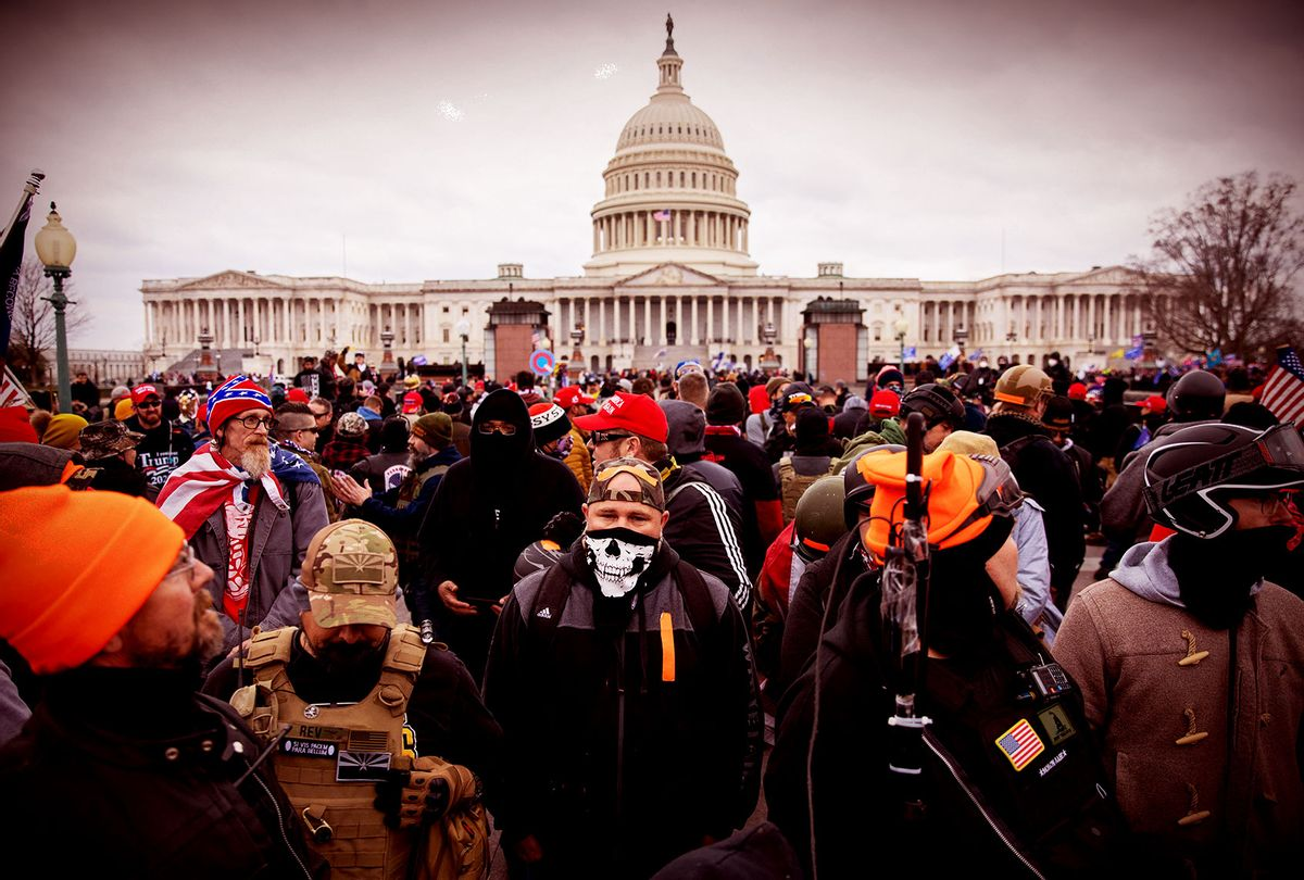 The Proud Boys outside the US Capitol in Washington, DC on Wednesday, January 6, 2021. (Amanda Andrade-Rhoades/For The Washington Post via Getty Images)