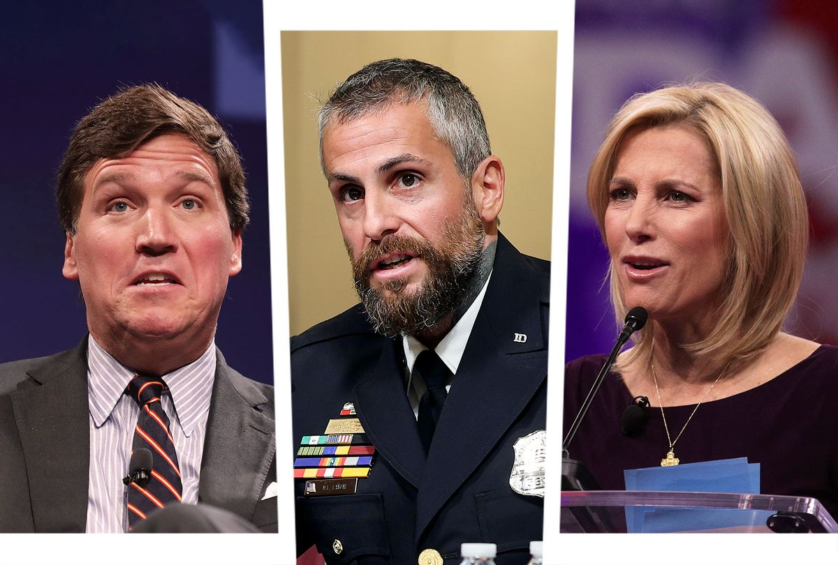 Tucker Carlson, Michael Fanone and Laura Ingraham (Photo illustration by Salon/Getty Images)