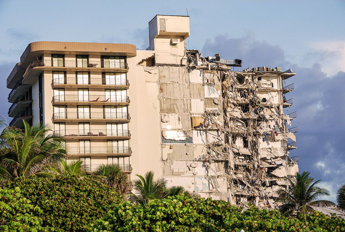 Damage caused by the partial collapse of the Champlain Towers condominium building, Surfside, Miami Beach, Florida. (Jeff Greenberg/Universal Images Group via Getty Images)