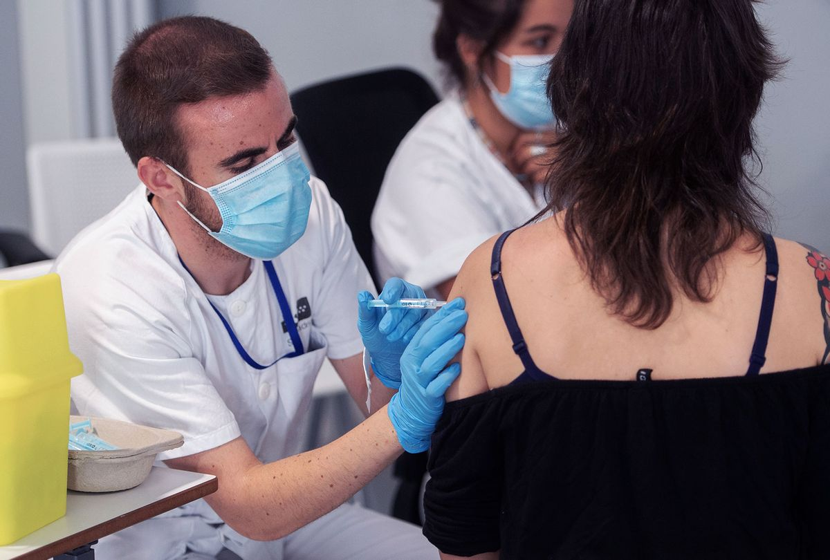 A young woman receives her first dose of the COVID-19 vaccine (Alberto Ortega/Europa Press via Getty Images)