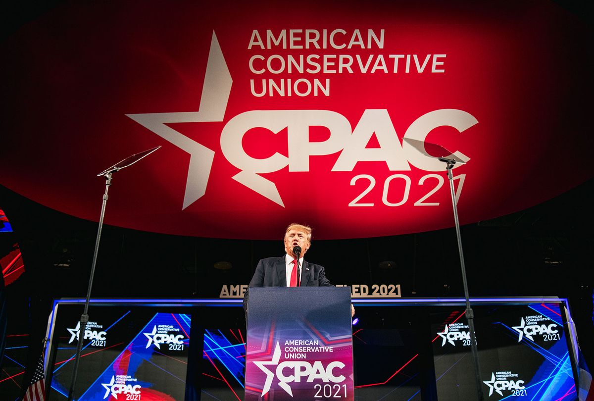 Former U.S. President Donald Trump speaks during the Conservative Political Action Conference CPAC held at the Hilton Anatole on July 11, 2021 in Dallas, Texas. CPAC began in 1974, and is a conference that brings together and hosts conservative organizations, activists, and world leaders in discussing current events and future political agendas. (Brandon Bell/Getty Images)