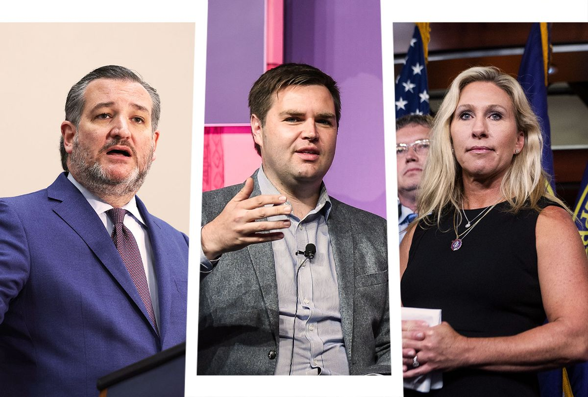 Ted Cruz, JD Vance and Marjorie Taylor-Greene (Photo illustration by Salon/Getty Images)