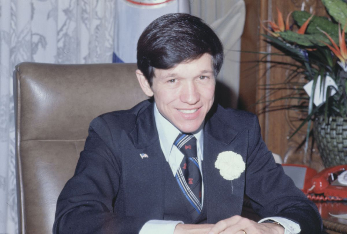 The Mayor of Cleveland and also on the International Relations, Government, Reference and Oversight Committee, Dennis J. Kucinich, is pictured here in his office, 1977. (Bettmann/Getty Images)