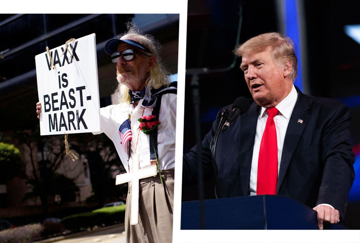 Donald Trump at CPAC | Anti-vaccine rally protesters hold signs outside of Houston Methodist Hospital in Houston, Texas, on June 26, 2021 (Photo illustration by Salon/Getty Images)