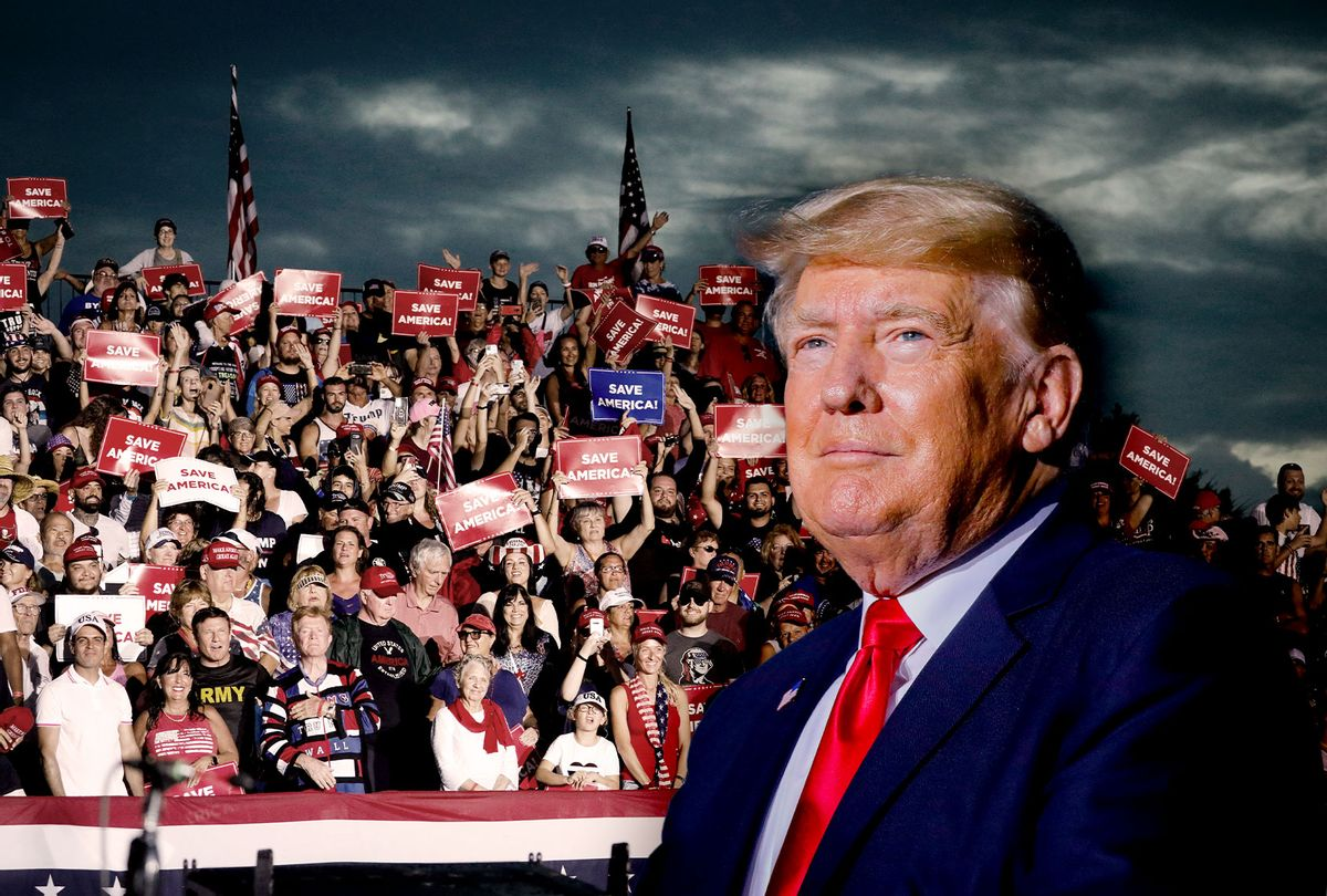 People listen as former U.S. President Donald Trump speaks during a rally on July 3, 2021 in Sarasota, Florida. Co-sponsored by the Republican Party of Florida, the rally marks Trump's further support of the MAGA agenda and accomplishments of his administration. (Photo illustration by Salon/Eva Marie Uzcategui/Getty Images)