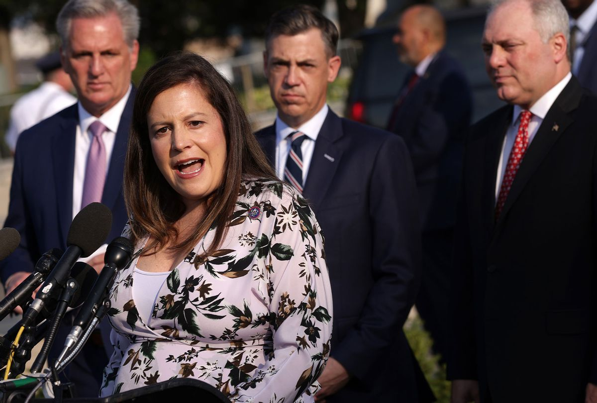 U.S. House Republican Conference Chair Rep. Elise Stefanik (R-NY) (2nd L) speaks as (L-R) House Minority Leader Rep. Kevin McCarthy (R-CA), Rep. Jim Banks (R-IN), and House Minority Whip Rep. Steve Scalise (R-LA) listen during a news conference in front of the U.S. Capitol July 27, 2021 in Washington, DC. Leader McCarthy held a news conference to discuss the Jan 6th Committee. (Alex Wong/Getty Images)