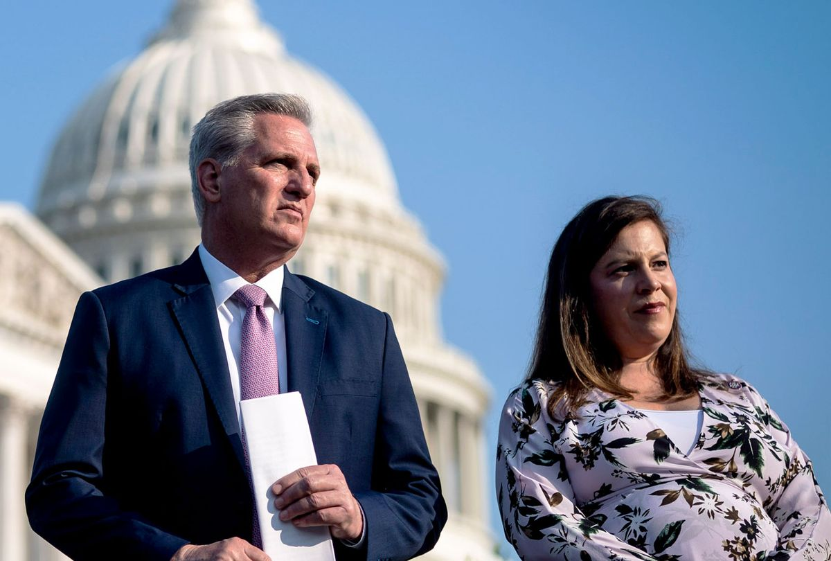 House Minority Leader Kevin McCarthy, R-Calif., Republican Conference Chair Elise Stefanik, R-N.Y., listen during a press conference ahead of the House select committee on the January 6th attack starting their first hearing with Capitol Hill police witnesses on Capitol Hill on Tuesday, July 27, 2021 in Washington, DC. (Jabin Botsford/The Washington Post via Getty Images)