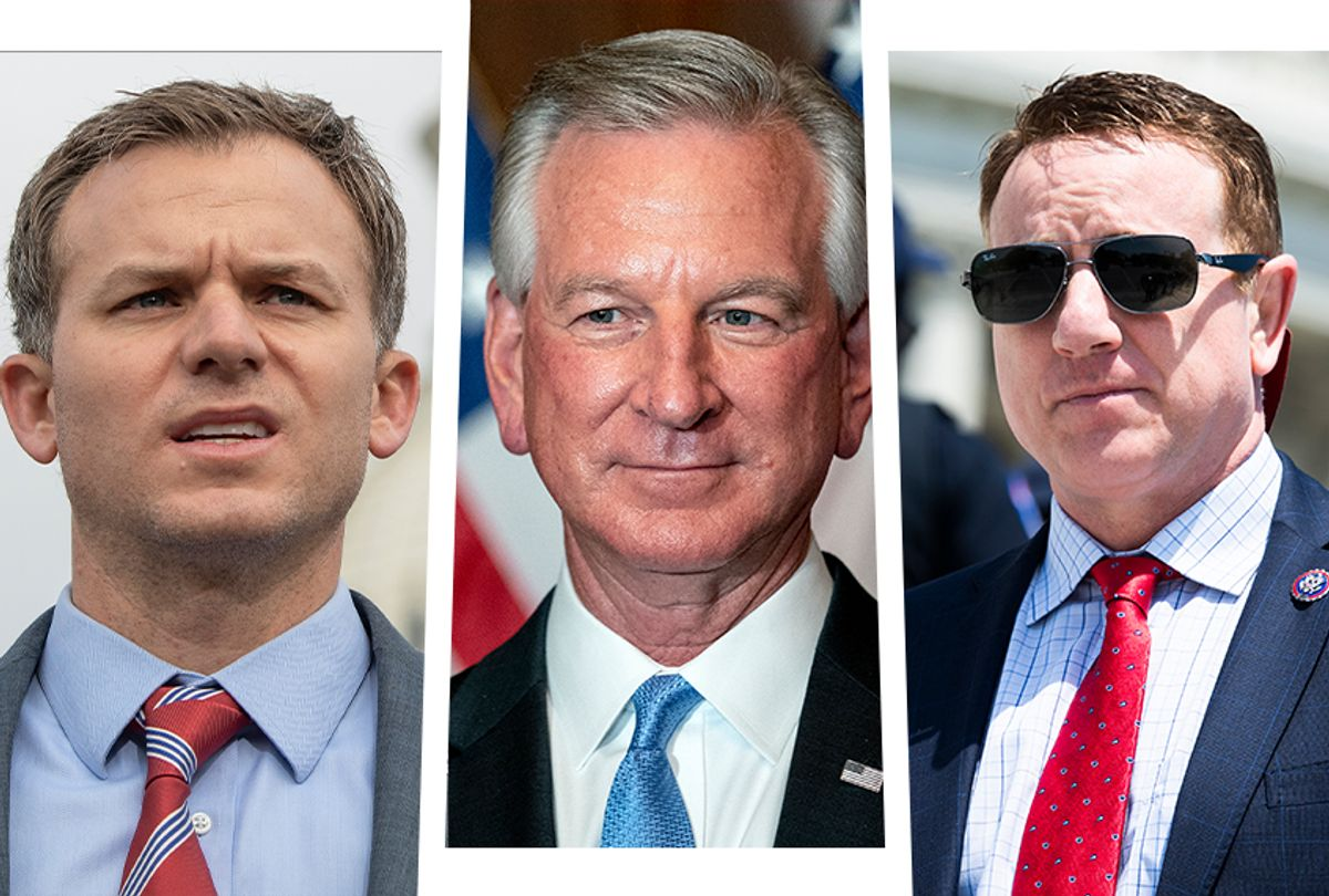 From left to right: Rep. Blake Moore, Sen. Tommy Tuberville and Rep. Pat Fallon. (Getty Images)