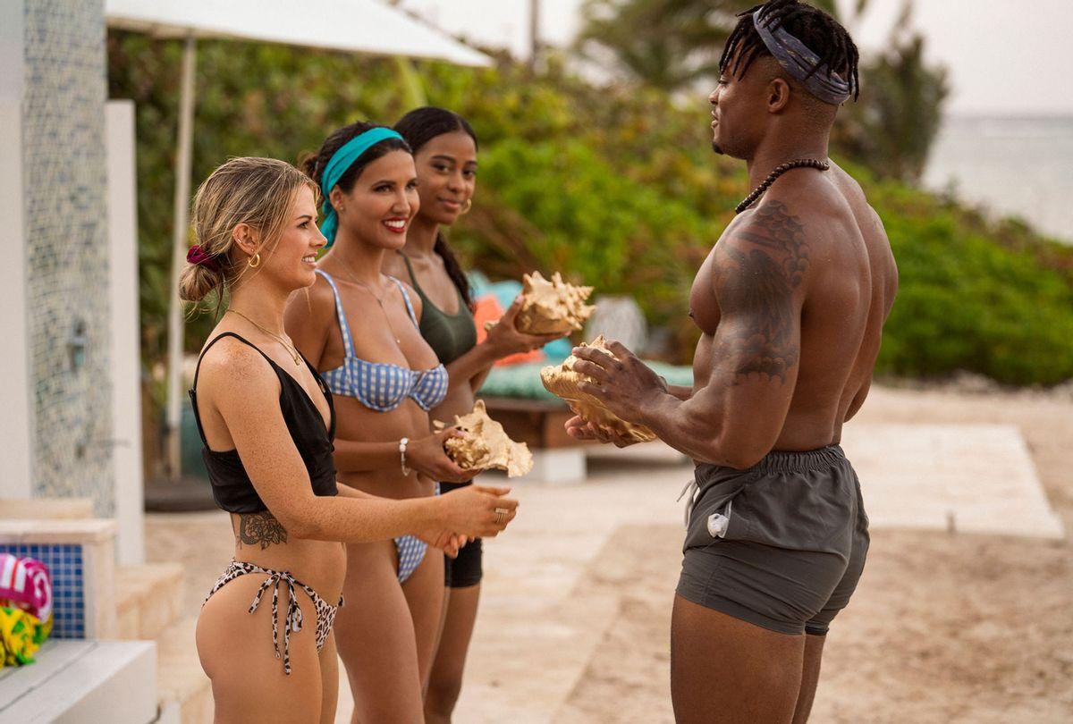 "Sarah, CJ, Nakia and OG Jared in ""FBoy Island"" (HBO Max)"
