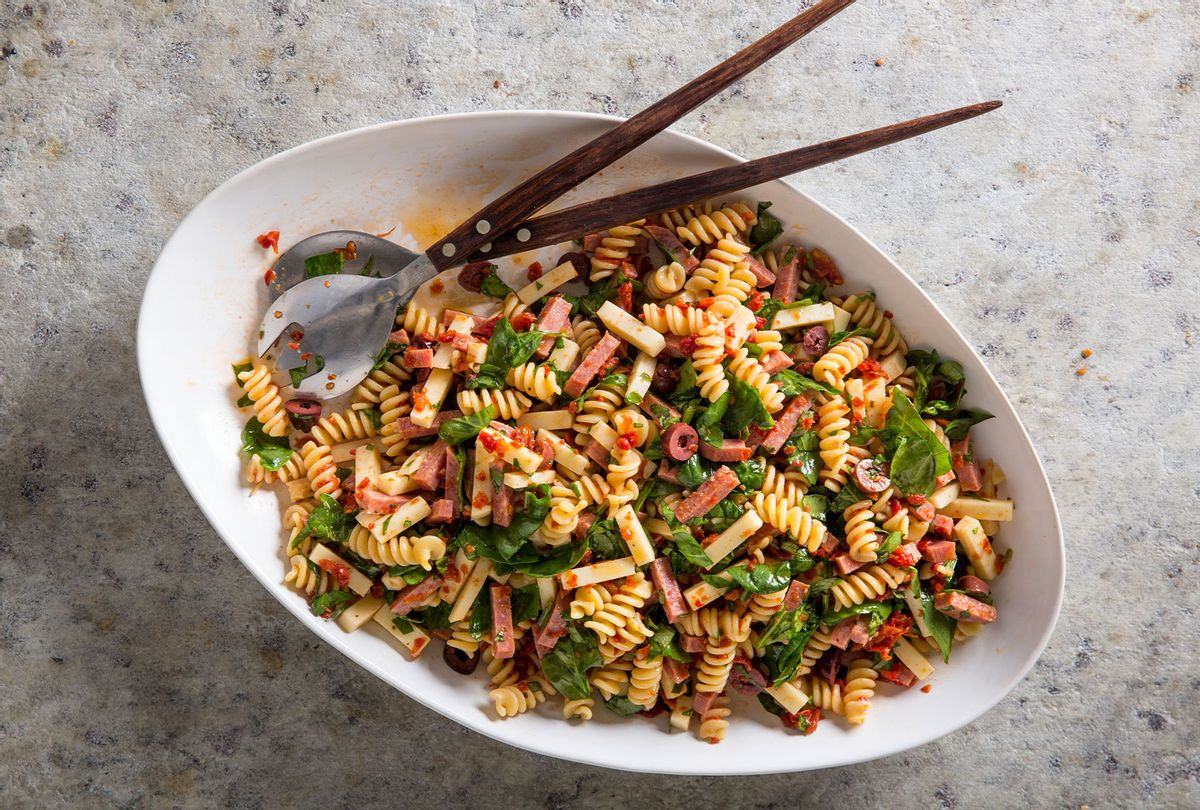 "Fusilli Salad with Salami and Sun-Dried Tomato Vinaigrette (Courtesy of ""The Complete Salad Cookbook""/America's Test Kitchen)"