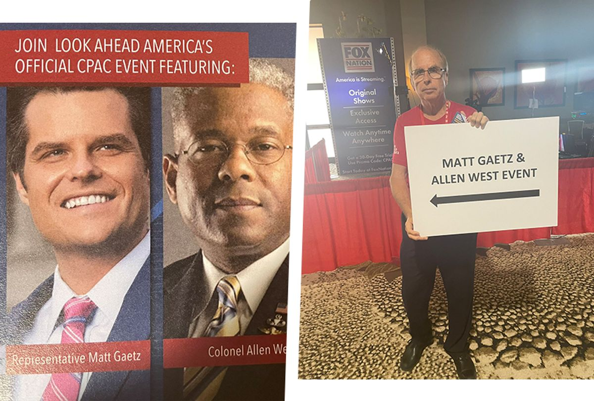 """Signs for an """"official"""" CPAC speech by Matt Gaetz were seized by the conference, which said the event was not recognized at all. (Zachary Petrizzo/Salon)"""
