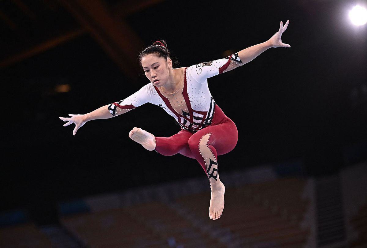 Germany's Kim Bui competes in the artistic gymnastics balance beam event of the women's qualification during the Tokyo 2020 Olympic Games. (LIONEL BONAVENTURE/AFP via Getty Images)