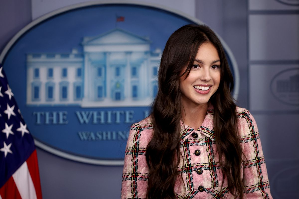 Pop music star and actress Olivia Rodrigo makes a brief statement to reporters in the White House Press Briefing Room on July 14, 2021. (Chip Somodevilla/Getty Images)