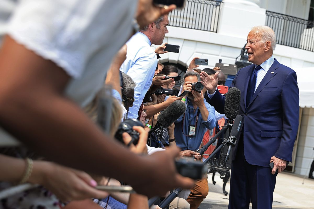 U.S. President Joe Biden stops to take a question on social media misinformation from NBC correspondent Peter Alexander while departing the White House on July 16, 2021. (Chip Somodevilla/Getty Images)