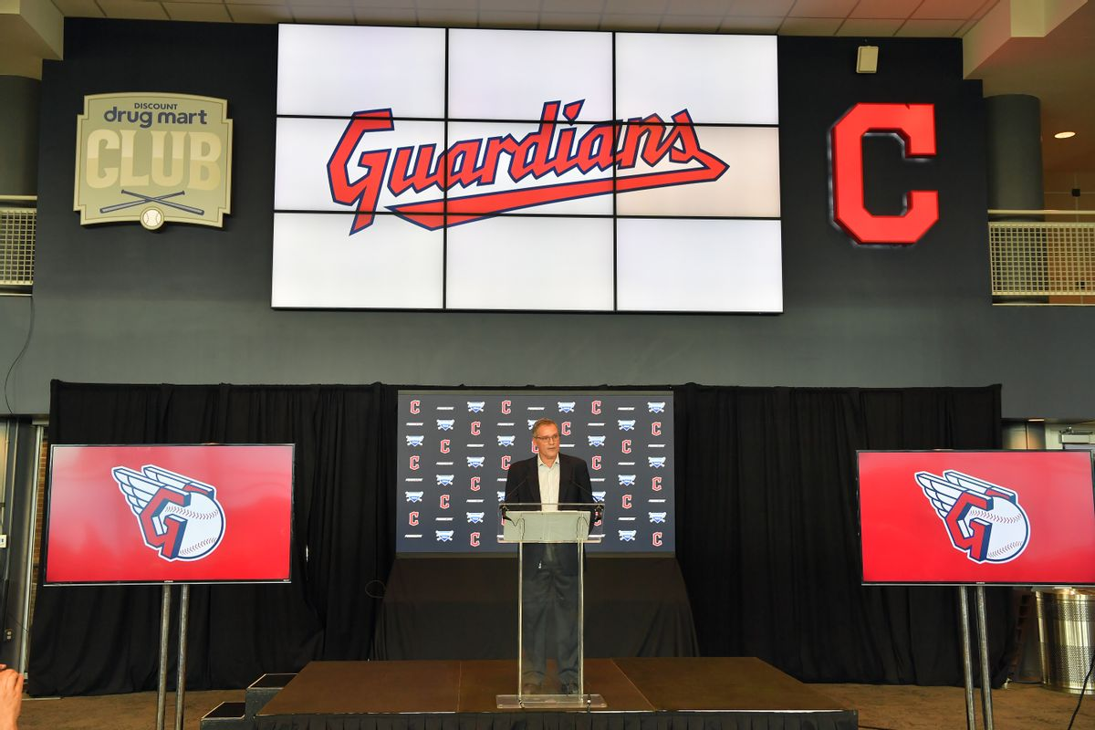 Cleveland Indians president of business operations Brian Barren talks to members of the media during a press conference announcing the name change from the Cleveland Indians to the Cleveland Guardians. (Jason Miller/Getty Images)