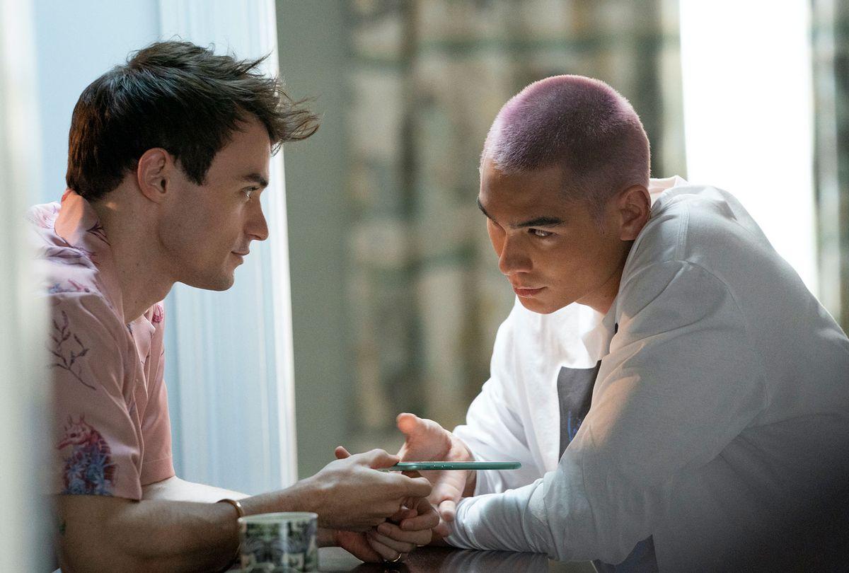 "Thomas Doherty and Evan Mock in ""Gossip Girl"" (Karolina Wojtasik/HBO Max)"