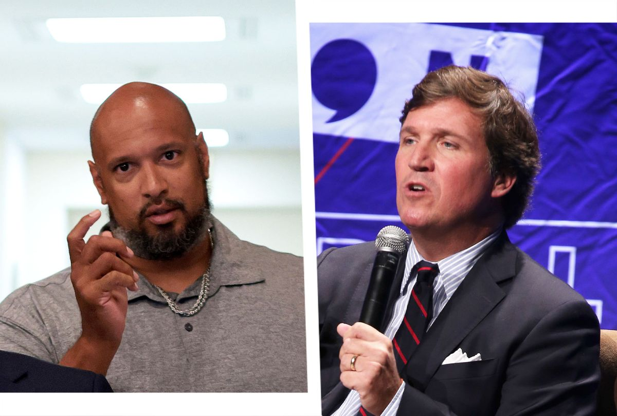 U.S. Capitol Police Officer Harry Dunn and Tucker Carlson (Photo illustration by Salon/Getty Images)