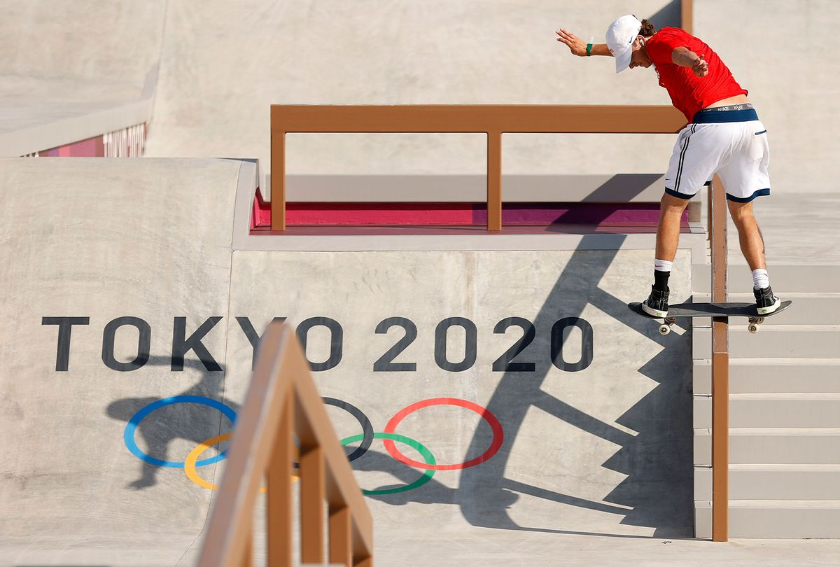 Jagger Eaton of Team United States practices on the skateboard street course ahead of the Tokyo 2020 Olympic Games on July 21, 2021 (Ezra Shaw/Getty Images)