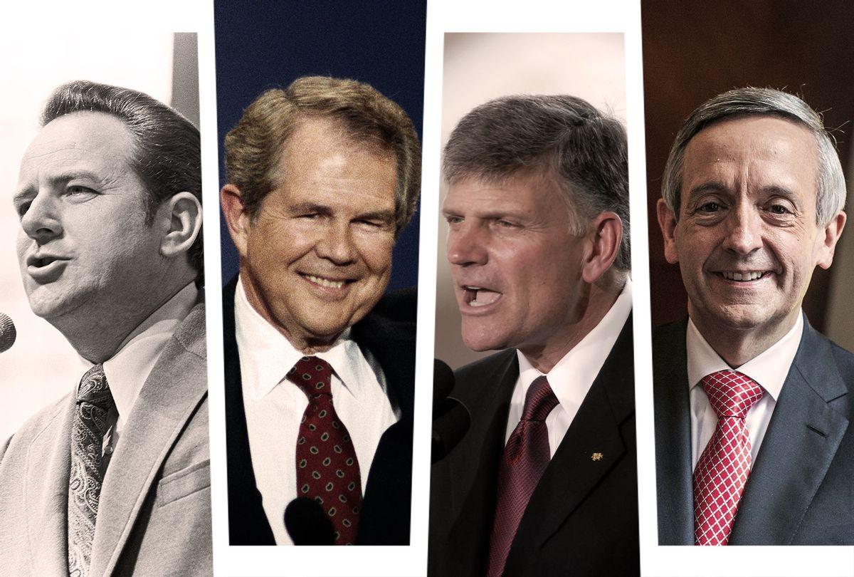 Jerry Falwell Sr, Pat Robertson, Franklin Graham and Robert Jeffress (Photo illustration by Salon/Getty Images)