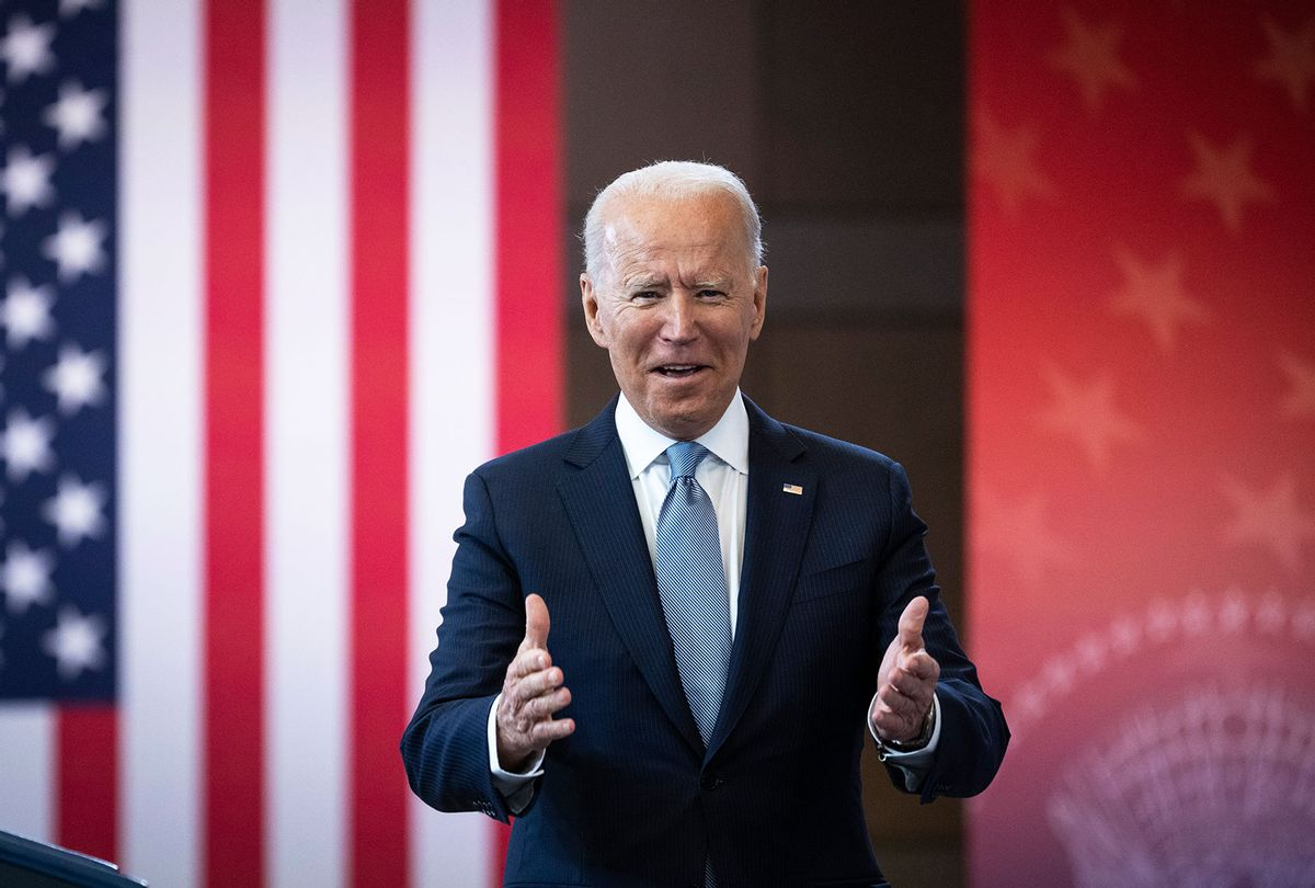 U.S. President Joe Biden arrives to speak about voting rights at the National Constitution Center on July 13, 2021 in Philadelphia, Pennsylvania. Biden and Congressional Democrats are set to make another push for sweeping voting rights legislation as Republican state legislatures across the country continue to pass controversial voting access laws. (Drew Angerer/Getty Images)