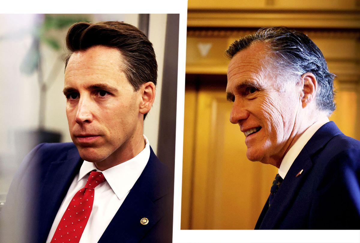 Josh Hawley and Mitt Romney (Photo illustration by Salon/Getty Images)