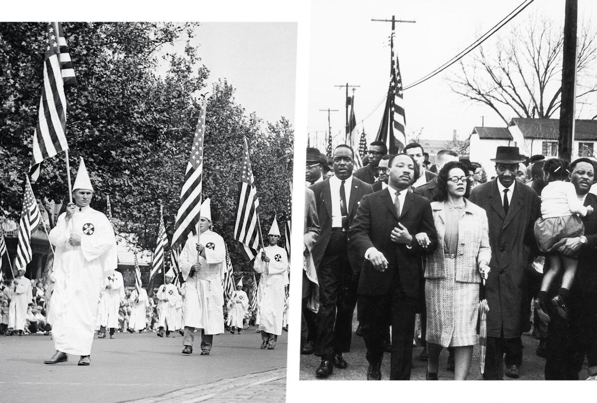 Ku Klux Klan Marching in Washington | American civil rights campaigner Martin Luther King (1929 - 1968) and his wife Coretta Scott King lead a black voting rights march from Selma, Alabama, to the state capital in Montgomery (Photo illustration by Salon/Getty Images)