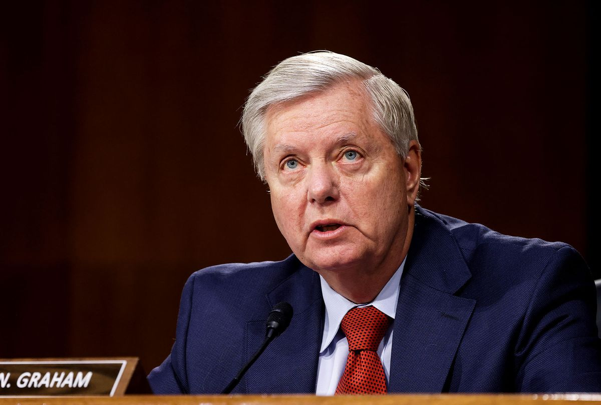 U.S. Sen. Lindsey Graham (R-SC) speaks during a Senate Appropriations Committee hearing on the Defense Department's budget request on Capitol Hill on June 17, 2021 in Washington, DC. (Evelyn Hockstein-Pool/Getty Images)