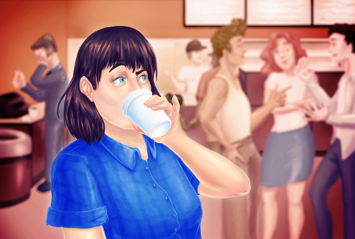 Overheard Conversations At Dunkin (Illustration by Ilana Lidagoster)