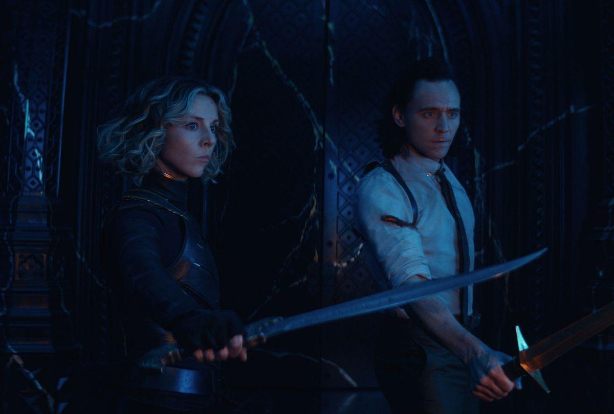 """Sophia Di Martino and Tom Hiddleston in """"Loki"""" (Marvel Studios/Disney+)"""