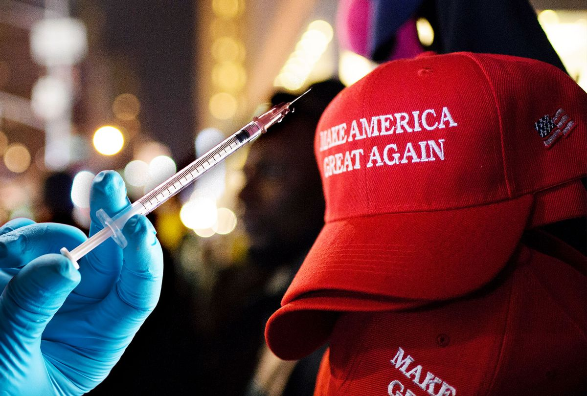 Maga Hat & Vaccine (Photo illustration by Salon/Getty Images)