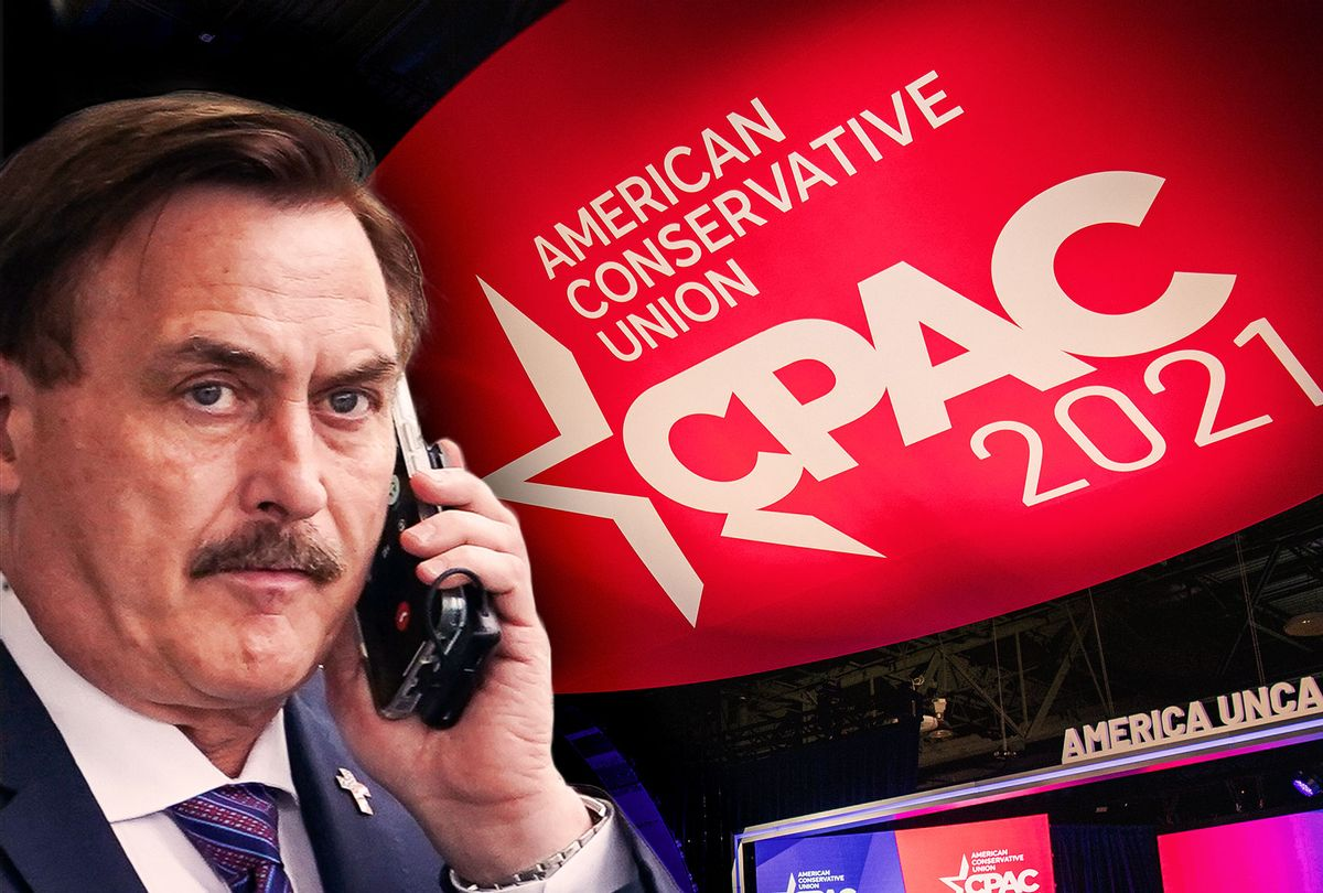 Mike Lindell and CPAC (Photo illustration by Salon/Getty Images)